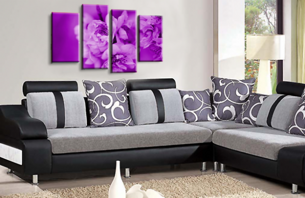Floral Flower Wall Art Picture Purple Grey Spring Blossom Print Split
